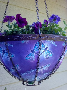 This basket will have more shade. Plenty of purple flowers there.