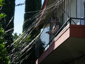 web shooting squirt gun got the porch ready for Halloween