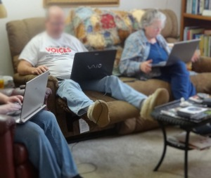 Isn't this how you spend New Year's Eve?  One is hunting for jobs, one is doing tutorials, and one is posting her blog.