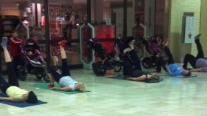 They were oblivious to the mall walkers. All that work before 10 a.m.