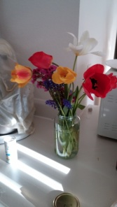 Flowers from my new friends garden. Made me feel better immediately.
