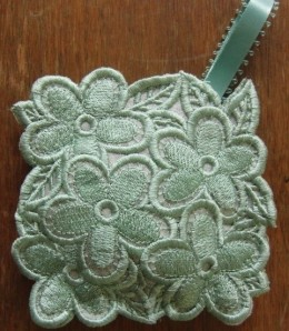 machine embroidered lace on organza