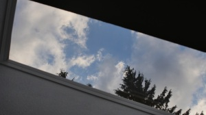 My son wanted a clearer view so he went on the roof and washed the outside. What a view from the kitchen ceiling.