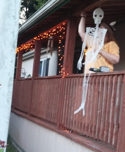We hung orange lights so  the skeleton wasn't scared at night. It's spooky out there in the dark.
