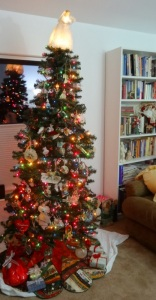 my tree is up and tips a little to one side like me.