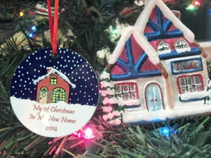 An ornament from my ex-DIL. Still a sweety. Hers is the round one.