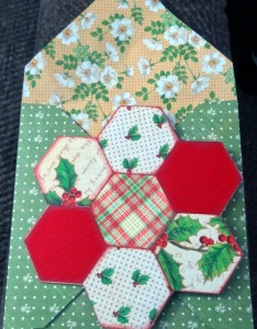 She made this one herself as well to send the rest. A quilted card.