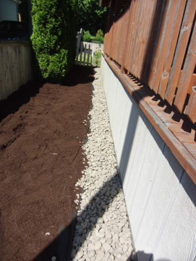 Rock against the house, mulch to the fence