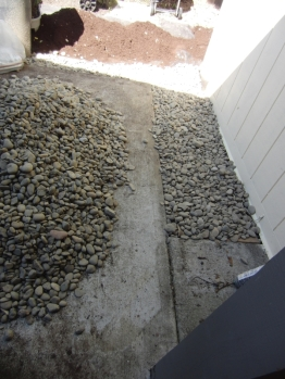 Along the edge of the shed and around the concrete porch