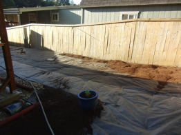 Part of one side of the fence that is now ready for stain and mulch at the bottom