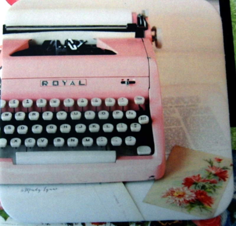 Another coaster with pink typewriter.