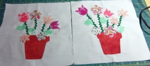 I've never done any applique. Buttons will go in the center of some flowers after quilting. Another for a group member