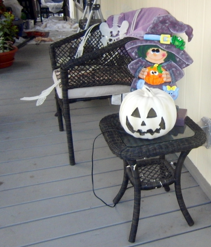 Witchy Poo and her albino pumpkin are inside this year.