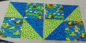 These will be added to a charity quilt for a little boy. Don't look too closely, You'll see my mistake.