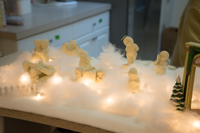 Snow Babies in the kitchen