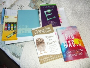 Some of the journals and books that sleep in my bed.