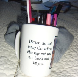 My favorite mug full of markers and pens and pencils.