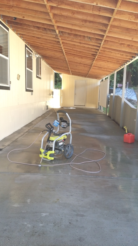 cleaned driveway, deck and back patio.